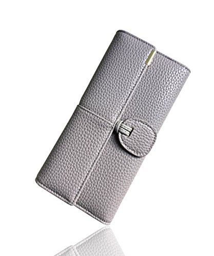Rfid Blocking Leather wallet for women Girls,ladies long purse Large Capacity(Grey) by YOTOO (Image #1)
