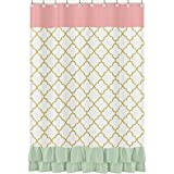 Sweet Jojo Designs Mint Ruffle Coral White and Gold Trellis Girls Ava Kids Bathroom Fabric Bath Shower Curtain