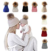 xsby Toddler Girl Hats for Winter, Winter Knit Knitted Braided Beanie Hat Ski Cap Pink 40-48cm