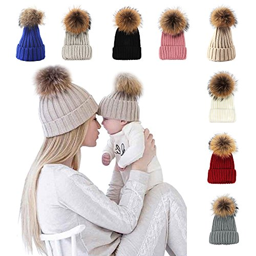Toddler Black Ball Cap, Winter Fur Hat Real Large Raccoon Fur Pom Pom Beanie Hats Black 40-48cm