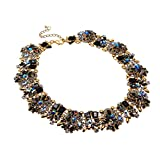 Jerollin Vintage Gold Tone Chain Multi-Color Glass Crystal Collar Choker Statement Bib Necklace