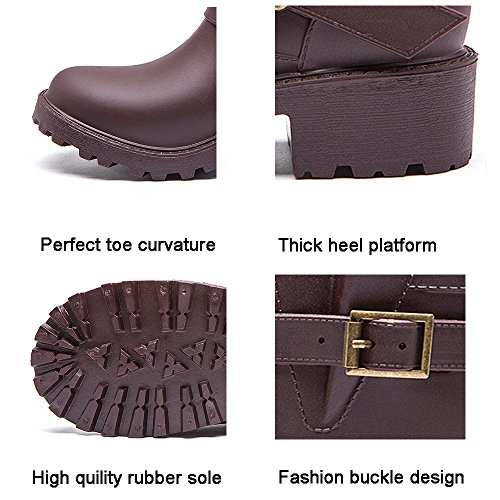 Girls Colors Womens with Rain Elastic for Waterproof Adjust Motorcycle 6 Boots DKSUKO Boots Brown pq7Uxw88