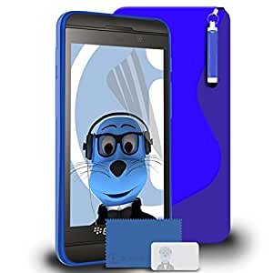 iTALKonline BlackBerry Z10 Blue TPU S Line Wave Hybrid Gel Skin Case Protective Jelly Cover, LCD Screen Protector and Headphone mount 3.5mm Retractable Mini Stylus Pen