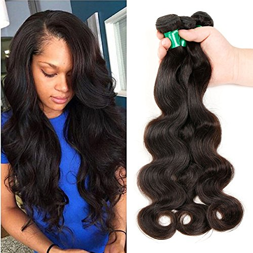 Glocal Brazilian Virgin Hair Body Wave Remy Human Hair 3Bundles Weaves 100%Unprocessed Hair Extensions Natural Color (18 18 18) (The Standard Nyc Halloween)