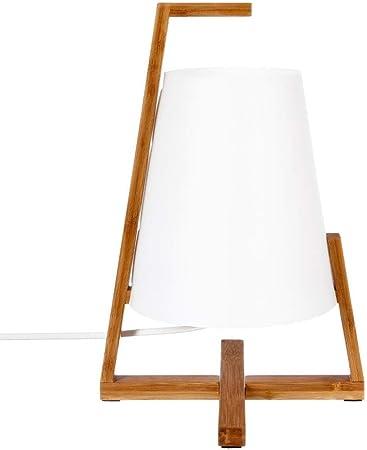 Pied en bambou et abat jour aspect fibre de verre Lampe /à poser originale et design