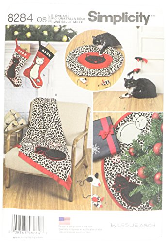 Simplicity Creative Patterns Simplicity Pattern 8284 Holiday Stocking, Tree Skirt, Throw, Bed and Cat Toys, OS (ONE Size)