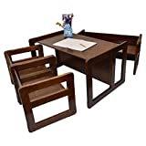 3 in 1 Childrens Multifunctional Furniture Set of 4, Two Small Chairs or Tables and One Small Bench or Table and One Large Bench or Table Beech Wood, Dark Stained