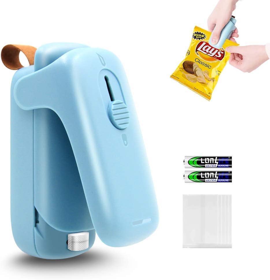 PNAVMG Mini Bag Sealer, Handheld Heat Sealer, 2 in 1 Heat Sealer & Cutter Portable Bag Resealer, With 50 Heat Seal Bags and 2 AA Batteries, Suitable For Foil Heat Seal Bags, Plastic Snack Bags, Vacuum Food Storage Bags, Food Package Bags