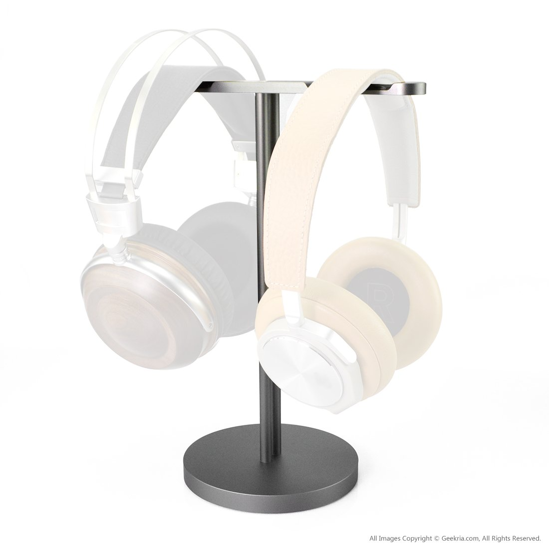 Aluminum Dual Headphones Stand/Headset Holder/Desk Display Hanger, Fit Bose, Sennheiser, Sony, Beyerdynamic, AKG, ATH, B&O and Many Earphones (Silver) by GEEKRIA