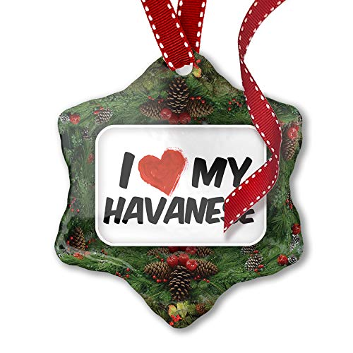 NEONBLOND Christmas Ornament I Love my Havanese Dog from