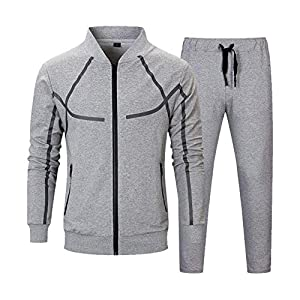 Men's Tracksuit Set 2 Piece Athletic Sports Casual Full Zip Active wear Sweatsuit 23
