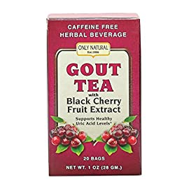 Gout Tea 5 Imported or made in the U.S.A. 100% natural gout tea All-natural herbal Gout Tea is a delicious blend of Black Cherry Extract, Celery Seed, Dandelion Root, Green Tea, Alfalfa and Ginger Root that may assist in maintaining healthy uric acid levels and over all well being * 20 tea bags per box