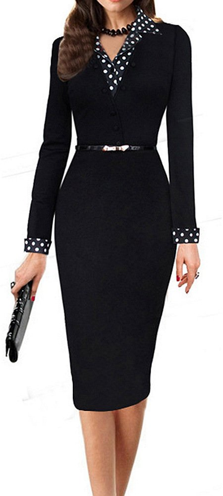 LunaJany Women's Polka Dot Long Sleeve Wear to Work Office Pencil Dress Large
