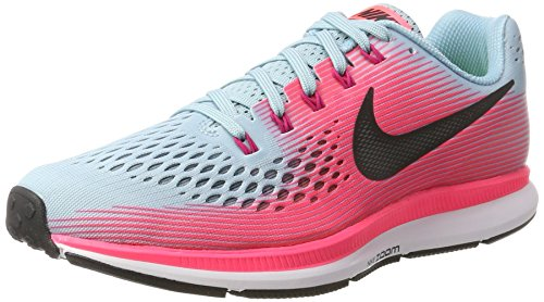 Nike Women's Air Zoom Pegasus 34 Running Shoe (Mica Blue/White/Racer Pink/Sport Fuchsia, 6.5 M US)
