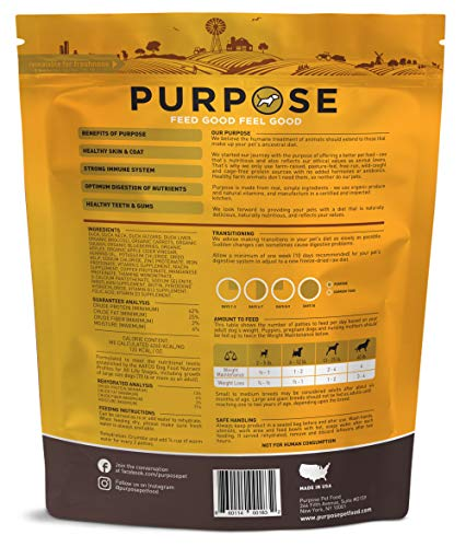 Purpose Freeze Dried Duck and Organic Veggie Humanely Raised Dog Food 14 Oz.
