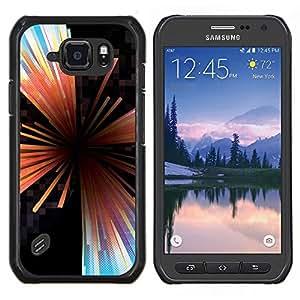 Caucho caso de Shell duro de la cubierta de accesorios de protección BY RAYDREAMMM - Samsung Galaxy S6Active Active G890A - Líneas Extracto de cristal Negro Hole