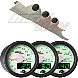 White MaxTow 03-09 Taupe Dodge Ram Diesel Gauge Package White Face Boost, EGT & Trans Temp