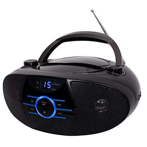 Jensen Portable Bluetooth Cd Player AM/FM Radio Tuner Mega Bass Reflex Stereo Sound System Plus Superior 6ft Aux Cable to Connect Any Ipod, Iphone or Mp3 Digital Audio Player ()