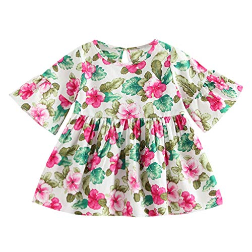 QQ1980s Toddler Baby Girls Dress Floral Print Ruffle Flare Half Sleeve Princess Dress Party Outfits (Multicolor, 120)