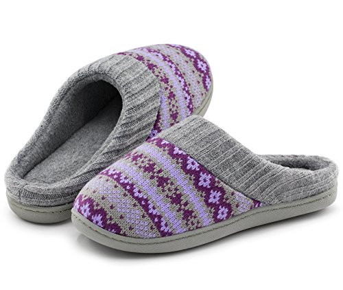 Women's Sweater Knit Memory Foam House Slippers w/ Cute Embroidered Pattern and Ribbed Hand-Knit Collar