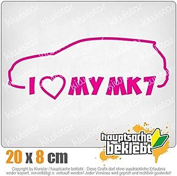 Chrom Sticker Aufkleber Neon I Love my MK7 20 x 8 cm IN 15 FARBEN
