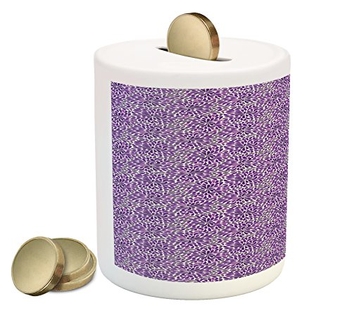 gy Bank, Teardrop Shapes Floral Themed Arrangement Abstract Botanical Garden, Printed Ceramic Coin Bank Money Box for Cash Saving, Purple and Purple Grey (Teardrop Saver)