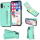 iPhone X Wallet Case, iPhone X Card Holder Case, 2 ID Credit Card Slot, Button Flip-Out Premium Leather Drop Protection Case Shock-Absorbing Case for Apple iPhone X (Mint)