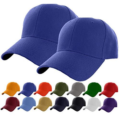 Set of 2 Royal Plain Adjustable Baseball Cap Classic Adjustable Hat Men Women Unisex Ballcap 6 Panels (Royal -2Pack) ()