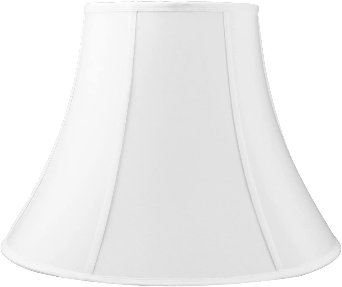 10x20x15 White Bell Shantung Shade with Brass Spider Fitter by Home Concept – Perfect for Table and Floor Lamps – Extra Large, White