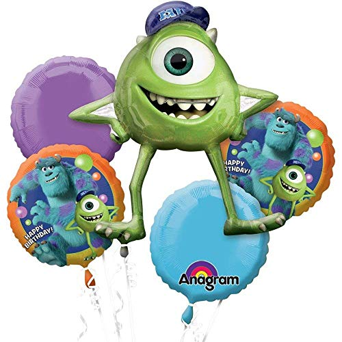 Disney Monster University Balloon Birthday Party Favor Supplies 5ct Foil Balloon Bouquet by Anagram ()