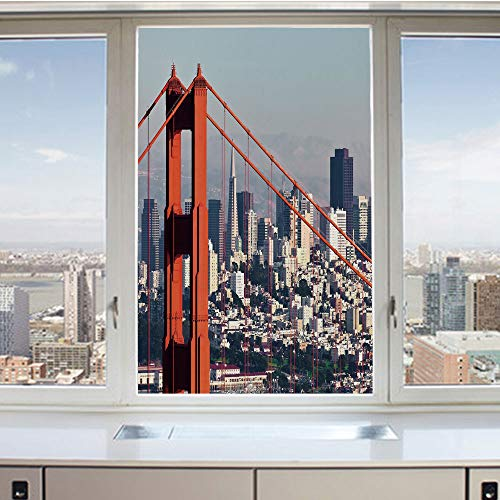 3D Decorative Privacy Window Films,San Francisco Bridge and Cityscape Metropolis Financial District,No-Glue Self Static Cling Glass Film for Home Bedroom Bathroom Kitchen Office 17.5x36 Inch