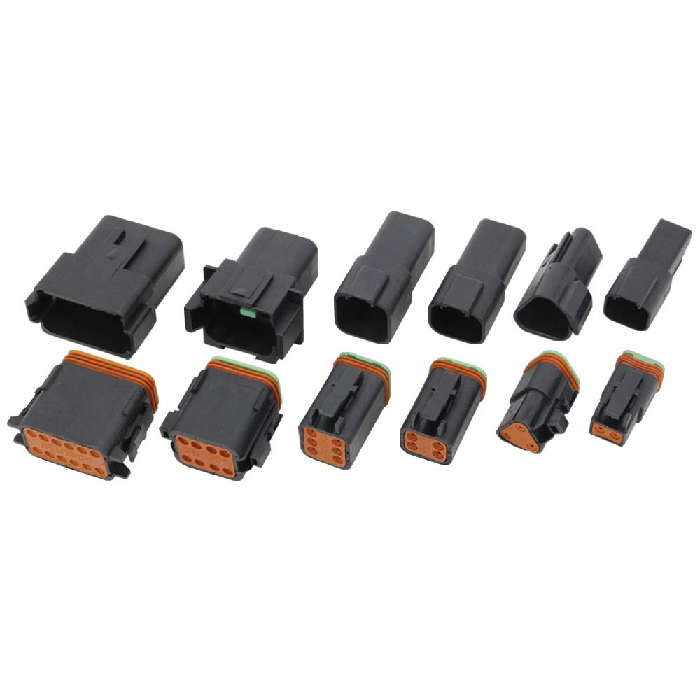 Black 5 Sets 2 Pin//Way DJ3021Y-1.6-11//21 Connectors DT04-2P//DT06-2S Automobile waterproof wire electrical connector plug