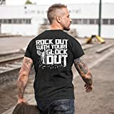 Rock Out with Your Glo-ck Out Print On Back T-Shirt