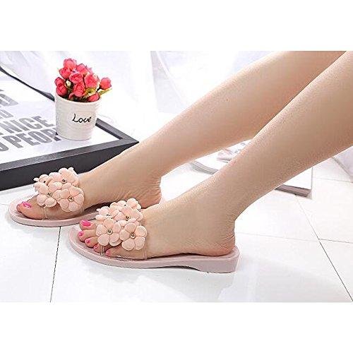 Eastlion Camellia Flower Women Slippers Summer Breathable Non-slip Flat Heel Beach Slippers S1 Pink GezEM