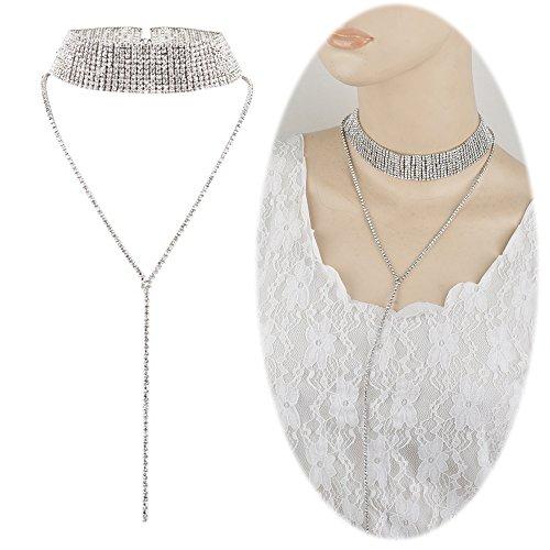 Rhinestone Necklace Long Tassel Pendant Dangle Crystal Simple Choker Collarbone Chain Cute Charms Jewelry Long Tassel Silver Plated (Plated Tassel)