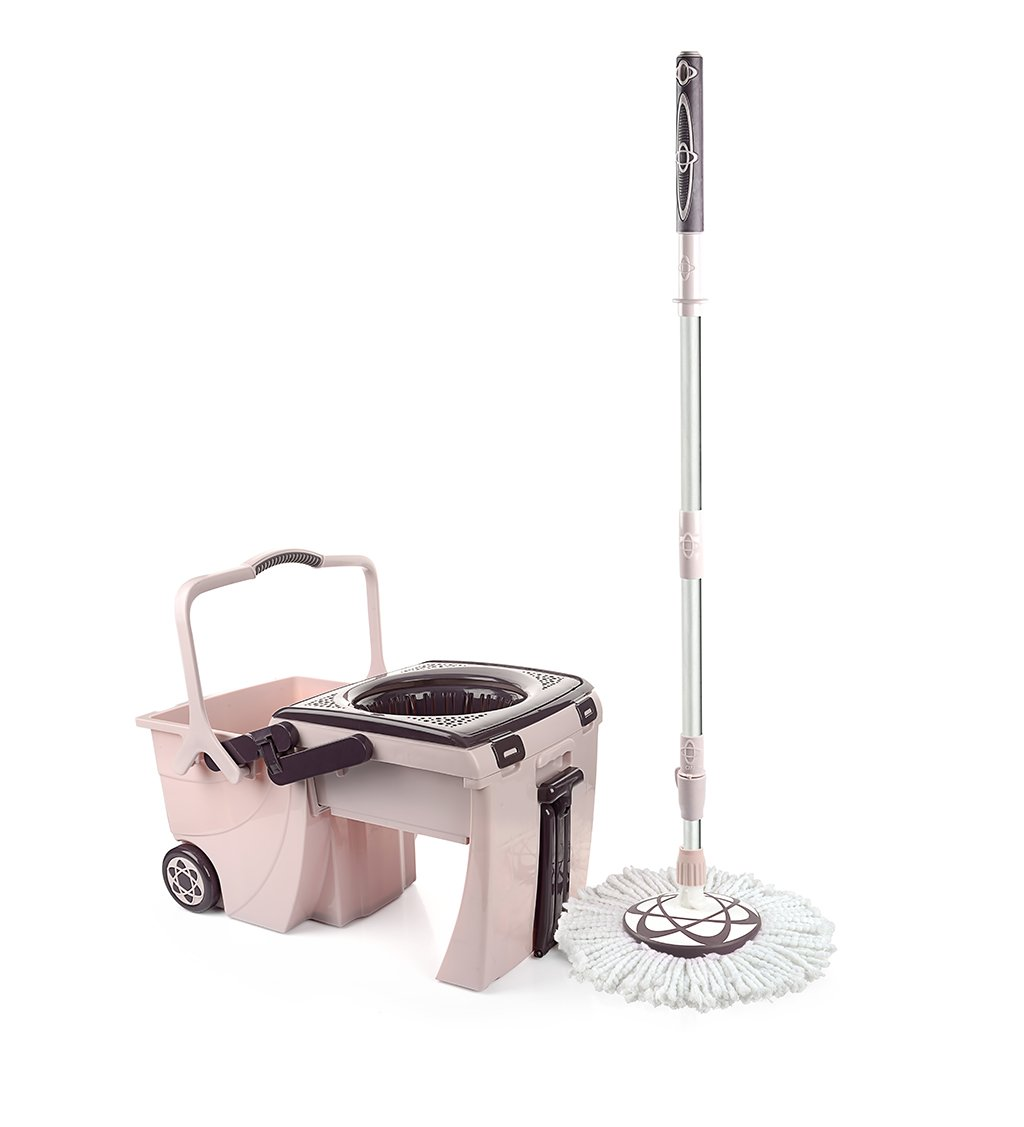 Easy Wring Microfiber Spin Mop & Rolling Bucket Set, Household Kitchen Bathroom Floor Cleaning System, 5L