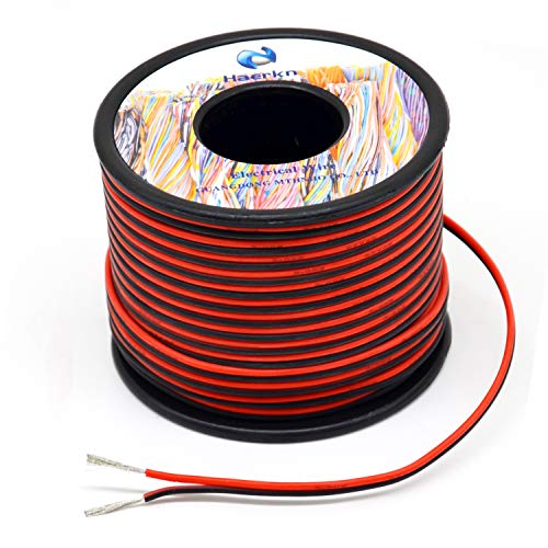 20 awg Silicone Electrical Wire 2 Conductor Parallel Wire line 200ft [Black 100ft Red 100ft] 20 Gauge Soft and Flexible Hook Up oxygen free Stranded Tinned copper wire ()