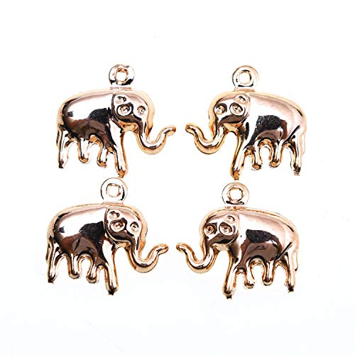 Monrocco 10 PCS 18K Gold Elephant Charms Pendant, Jewelry Findings Making Accessory for DIY Necklace Bracelet