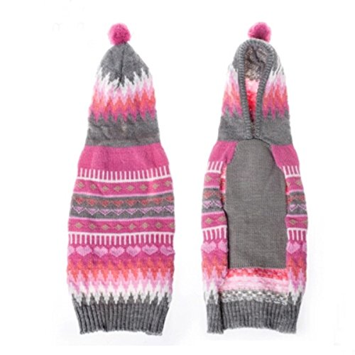 Ollypet Christmas Dog Sweater Chihuahua Clothes Knit For Girl Pink Hoodie Pom Pom Heart Winter Outfit XS