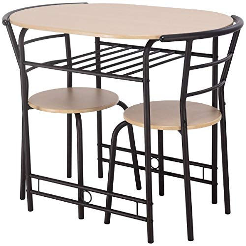 3 pcs Dining Set Table and 2 Chairs Bistro Pub Furniture Solid and Durable Construction Fashionable Design Kitchen Living Room Restaurant Decor with Wine Rack (Natural) (Furniture Rack Wine 36')