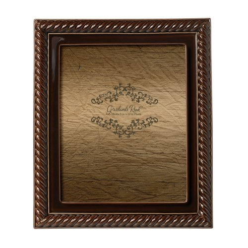 Grasslands Road Mahogany Roped Photo Frame, 8 by 10-Inch, Dipped Glaze, Ceramic, Gift Boxed