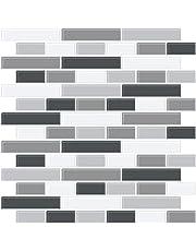 in Home NH2362 Smoked Glass Peel & Stick Backsplash Tiles, Black