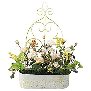 RERXN Europern Pastoral Artificial Flower in Iron Basket Silk Rose with Hanging Rack Indoor Outdoor Home Wedding Decor 4
