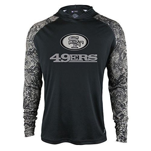 San Francisco 49ers Stripe (NFL San Francisco 49Ers Men's Zubaz Light Weight Synthetic Hood with Digital print Sleeves, Large, Black)