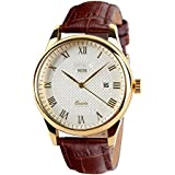 CakCity Men's Business Analogou Casual Watches Quartz Waterproof Wrist Watch with Golden Dial Brown Leather Band