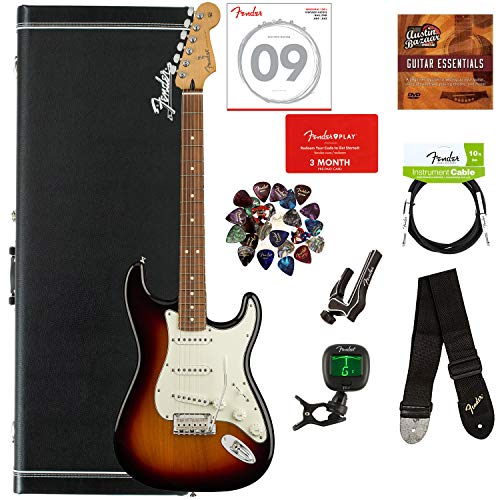 Fender Player Stratocaster, Pau Ferro - 3-Color Sunburst Bundle with Hard Case, Cable, Tuner, Strap, Strings, Picks, Capo, Fender Play Online Lessons, and Austin Bazaar Instructional DVD