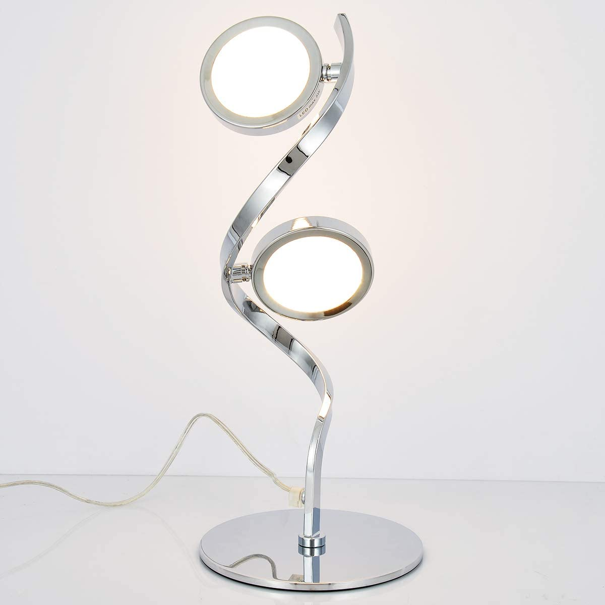 Lámpara de mesita de noche LED SPARKSOR, lámpara de mesa espiral Lámpara de escritorio LED curva moderna, lámpara de lectura de luz blanca y cálida de 10W, mesita de noche minimalista, cromo