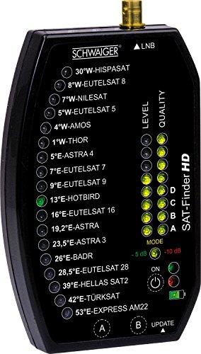 Schwaiger SF9002 Digitaler Sat-Finder, 18 Satelliten vorprogrammiert, schwarz