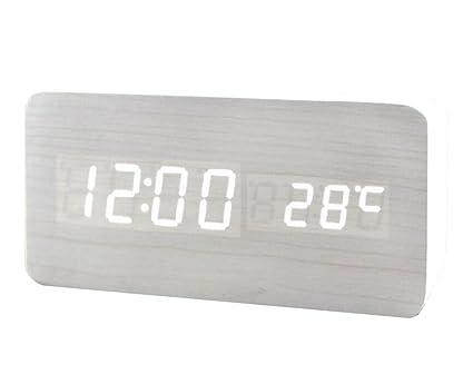 Reloj digital de madera de alarma LED Despertador Control de sonido USB / AAA Display de
