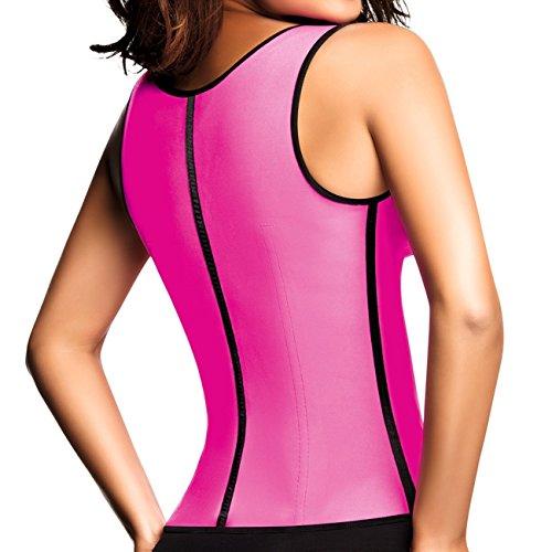 Accede las mujeres de látex deporte chaleco cintura Cincher faja faja–�?ganchos Rosa